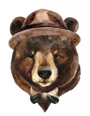 Canvastavlor Bear huvud vattenfärg