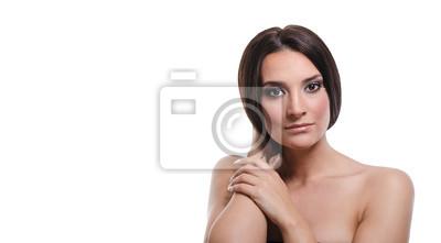 Canvastavlor Beatiful flicka som håller hennes hår