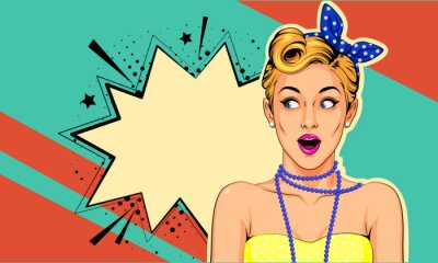 Canvastavlor Beautiful surprised pin up girl vector illustration in pop art style