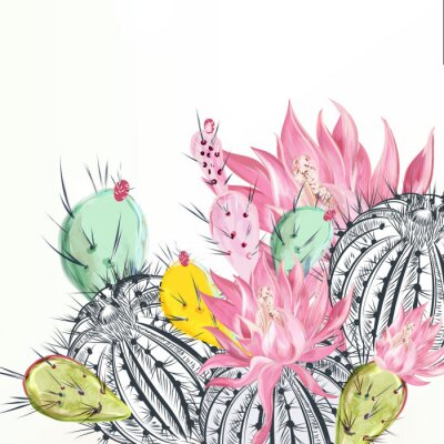 Canvastavlor Beautiful vector illustration with cactus plants and flowers