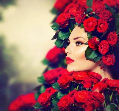Canvastavlor Beauty Mannekäng flicka stående med röda rosor frisyr