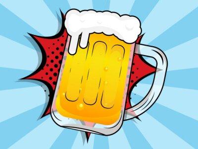 Canvastavlor beer mug with boom comic book, pop art