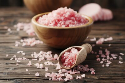 Canvastavlor Begreppet spa-behandling med rosa salt