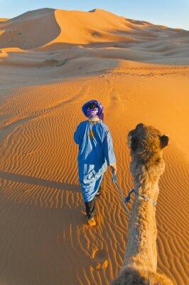 Canvastavlor Berber gå med kamel på Erg Chebbi, Marocko