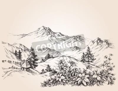 Canvastavlor Berg liggande skiss