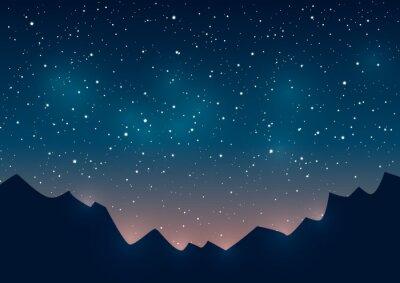 Canvastavlor Berg silhuetter på starry bakgrund