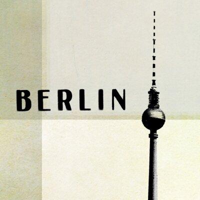 Canvastavlor Berlin Tappningvykortet - TV-tornet och bokstäver på abstrakt backg