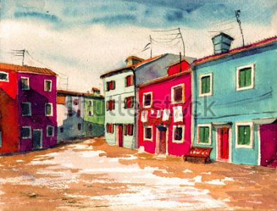 Canvastavlor Berömda Venedig italienska ön ljusa färgade hus vattenfärg målning illustration affisch hand ritad konstverk textil mönster kanvas bakgrund
