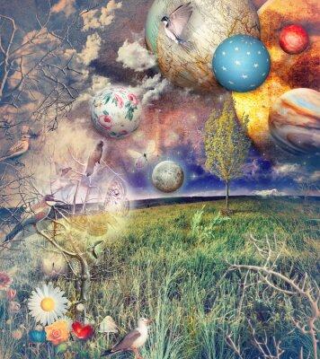 Canvastavlor Bewitched land med fåglar och blommor