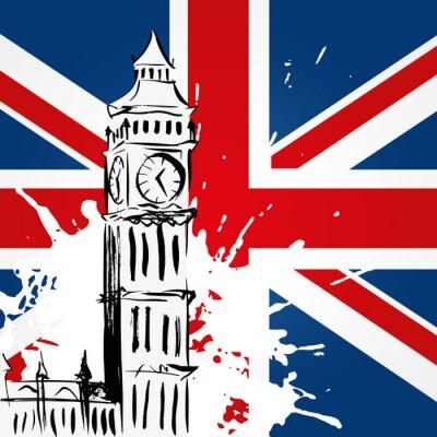 Canvastavlor Big Ben devant l'Union Jack