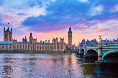 Canvastavlor Big Ben och Westminster Bridge med floden Thames