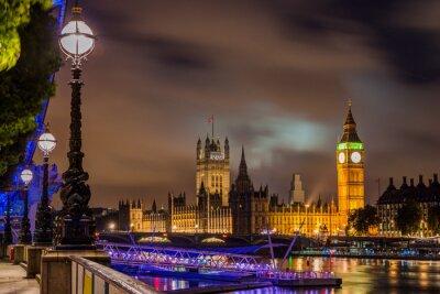 Canvastavlor Big Ben och Westminster Bridge på natten, London, UK