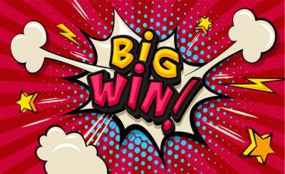 Canvastavlor Big Win! Pop art cloud bubble. Funny speech shopping sale icon bubble. Trendy Colorful retro vintage comic background in pop art retro comic style. Illustration easy editable for Your design.