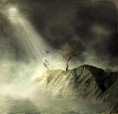 Canvastavlor Bilden visar en flicka på berget of.A flicka med ett paraply danser i regnet