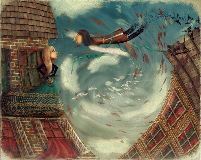 Canvastavlor Bilden visar en man i sky.He växer till en bird.A flicka står på en balkong och ser ut i himlen
