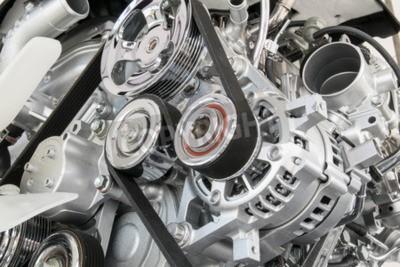 Canvastavlor Bilmotor närbild del av bilmotorn
