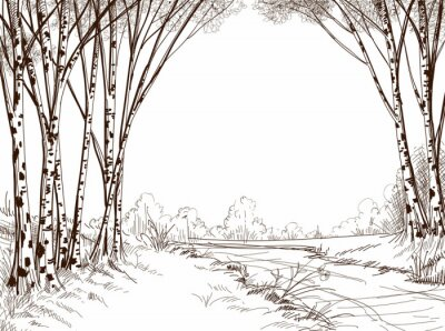 Canvastavlor Björk skog, grafisk bakgrund