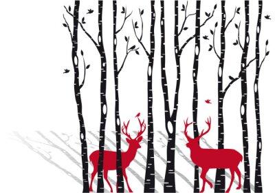 Canvastavlor björkar med jul rådjur, vektor