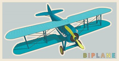 Canvastavlor Blå biplan i vintage och färg stilisering. Modellflygplan propeller med två vingar. Retro flygplan som konstruerats för affisch utskrift. Vackert och realistiskt dras vektor flygande biplan.