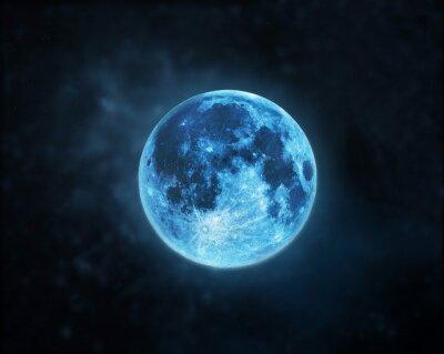 Canvastavlor Blå fullmåne atmosfär på mörka natthimlen bakgrund, element av bilden som tillhandahålls av NASA
