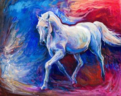 Canvastavlor blå häst