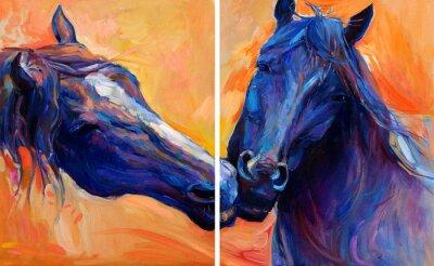 Canvastavlor blå hästar