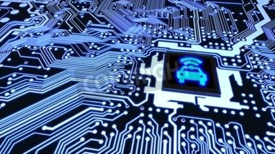 Canvastavlor Blå kretskort closeup ansluten till en cpu med en glödande bil wifi symbol på toppen smart fordonskoncept 3D illustration