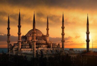 Canvastavlor Blå moskén i Istanbul under solnedgång