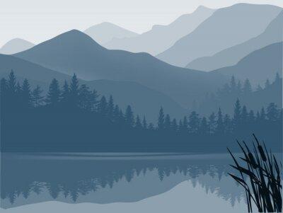 Canvastavlor blå och grå sjö i fjällskog