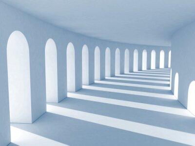 Canvastavlor Blå pelargång med djupa skuggor. Illustration