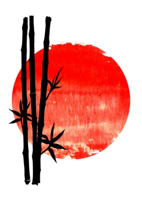 Canvastavlor Black silhouette of bamboo plants on big red sun