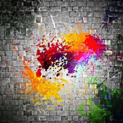 Canvastavlor bläck splatter på stenmuren