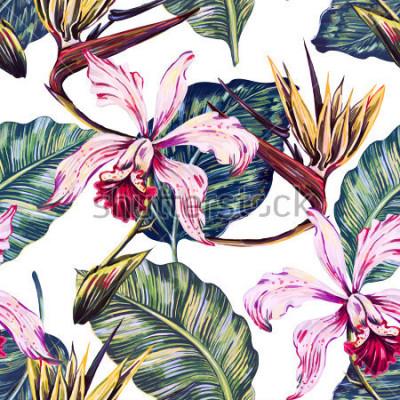 Canvastavlor Blomlösa sömlösa tropiska mönster, sommarbakgrund med exotiska blommor, palmblad, djungelblad, orkidé, fågel av paradisblomma. Botanisk tapeter, illustration i hawaiisk stil