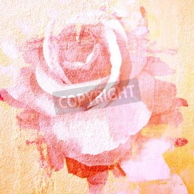 Canvastavlor Blomma vackert rosa, konst måla illustration för bakgrund