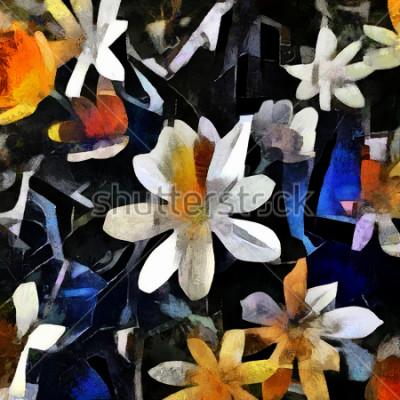 Canvastavlor Blommarrangemang i stil med abstrakt kubism. Bilden är gjord av olja på duk med element i akrylmålning.