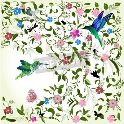 Canvastavlor Blommig bakgrund med fågel