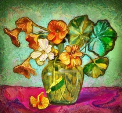 Canvastavlor blommor glasvas