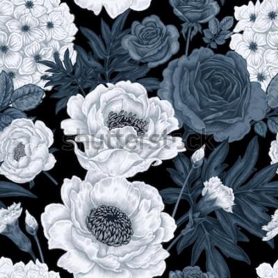Canvastavlor Blommor i svartvit bakgrund med rosor, pioner, hortensior, nejlikor.