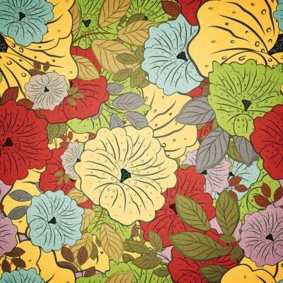 Canvastavlor Blommor Seamless grungefärgade mönster