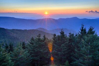 Canvastavlor Blue Ridge Parkway Höst Solnedgång över Appalacherna