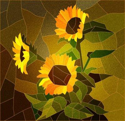 Canvastavlor Blyinfattade fönster med solrosor