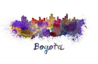 Canvastavlor Bogota skyline i vattenfärg