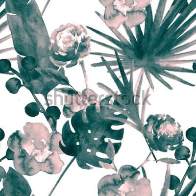 Canvastavlor Bohemsk turkosblå retro exotisk sömlös blommönster för akvarell. Mjuk kvinnlig tygbakgrund med banan, fläktblad, rosor. Blommor sömlösa mönster Tropiska tapettryck.