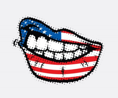 Canvastavlor Böjda läppar med USA flagga