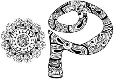 Canvastavlor bokstaven P inredda i stil med mehndi