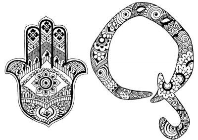 Canvastavlor bokstaven Q inredda i stil med mehndi