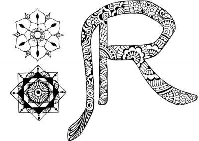Canvastavlor bokstaven R inredda i stil med mehndi