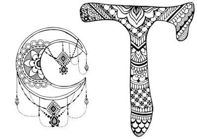 Canvastavlor bokstaven T inredda i stil med mehndi