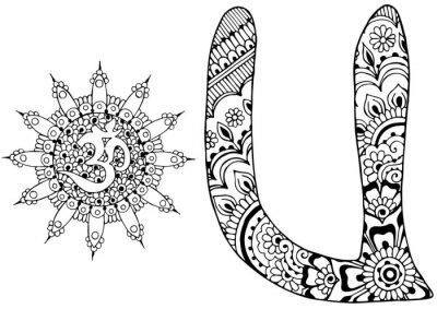 Canvastavlor bokstaven U inredda i stil med mehndi