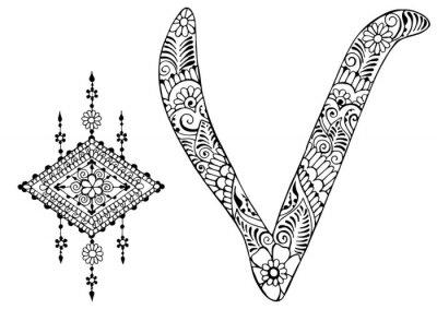 Canvastavlor bokstaven V inredda i stil med mehndi